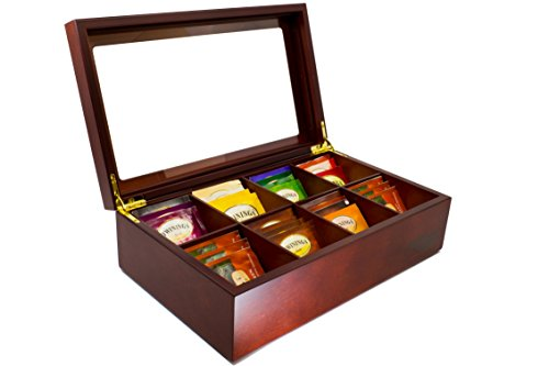 The Bamboo Leaf Wooden Tea Storage Chest Box with 8 Compartments and Glass Window (Cherrywood) ()