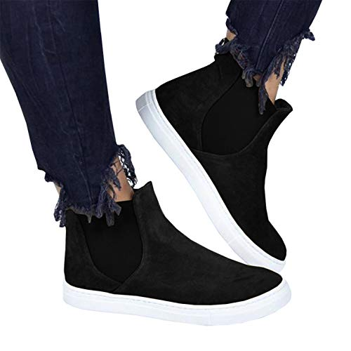 Womens High Top Slip on Platform Sneakers Flatform Chelsea Booties Flat Ankle Boots