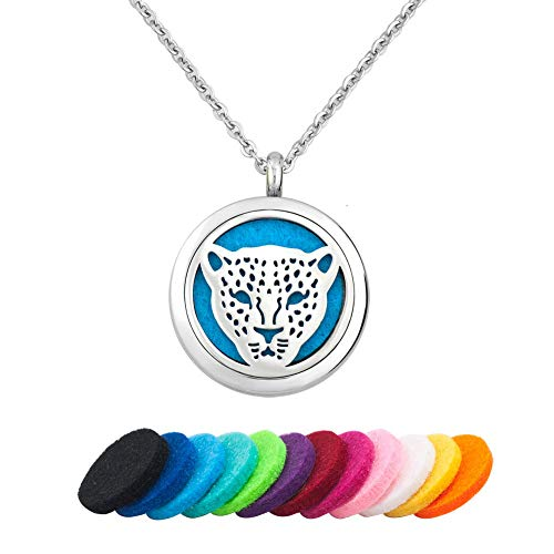 CLY Jewelry Leopard Jaguar Black Panther Cheetah Stainless Steel Locket Pendant Aromatherapy Essential Oil Colorful Wild Animal Diffuser Necklace Refill Pads