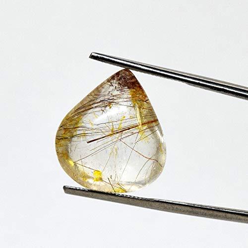 11 Carat Rutilated Quartz Pendant Natural Yellow Golden Rutile in Clear Quartz Crystal Cab Polished Mineral Venus' Hair Gemstone ()
