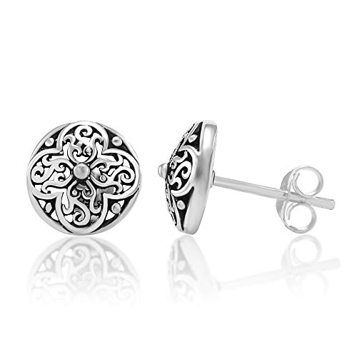 b570b3735 925 Oxidized Sterling Silver Tiny Filigree Flora Design 10 mm Post Stud  Earrings - ER0510SIL-CHUVNUENG < Stud < Clothing, Shoes & Jewelry - tibs