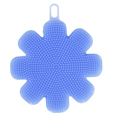 Silicone Cleaning Brush - Dish Cleaning Brush - KC-SC47 Flower Shape Silicone Dish Bowl Vegetable Fruit Cleaning Brush Heat Resistant Coaster - Blue (Silicone Dish Bowl Cleaning Brush)