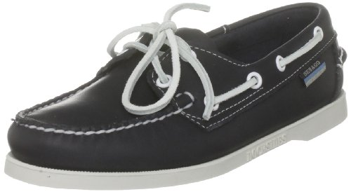 Womens Sebago Dockside Deck Shoes (Sebago Women's Docksides Blue Nite Leather Casual Boat Shoes Flats, 7 W)