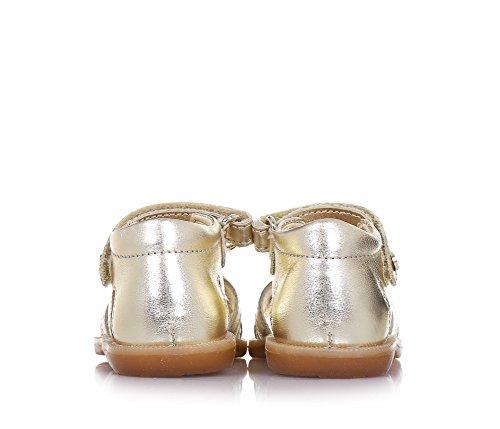 NATURINO - Sandalia dorada de cuero, con cierre de velcro, aplique de corazón y banda con glitter en la parte frontal, Niña, Niña