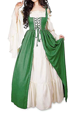 Abaowedding Womens's Medieval Renaissance Costume Cosplay Chemise and Over Dress (2XL/3XL, Green)]()