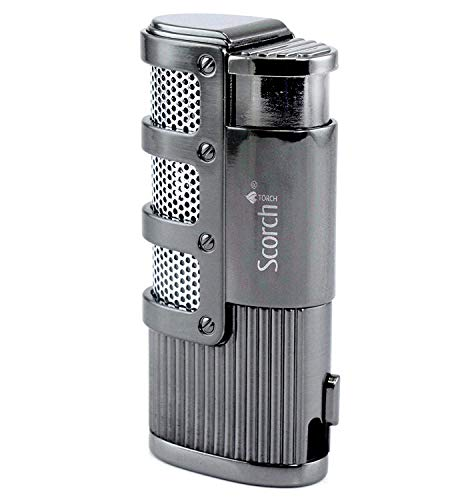 Scorch Torch Dominator Triple Jet Flame Butane Torch Cigarette Cigar Lighter w/Punch Cutter Tool (Gunmetal)
