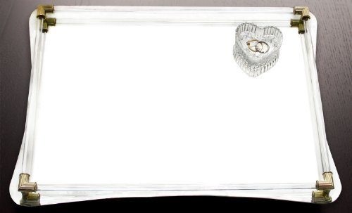 Heirlooms Dresser Mirror - American Atelier Decorative Jewelry Tray - Beautiful Jeweled Mirror Valet Catchall w/Handles for Jewelry, Perfume, Toiletries or Makeup for Dresser, Vanity, Table, Bathroom & More