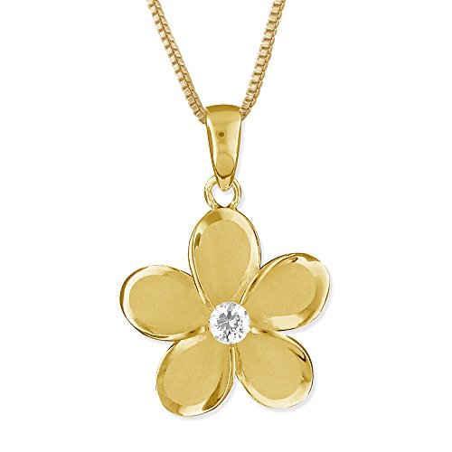 Mm Pendant 15 Plumeria (14kt Yellow Gold Plated Sterling Silver 15mm Plumeria Pendant Necklace, 16+2