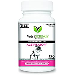 VetriScience Laboratories Acetylator, Digestive Health Supplement for Cats and Dogs, 120 Capsules