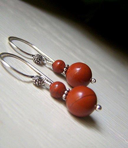 Genuine Red Jasper Earrings - Red Jasper Earrings, Sterling Silver Drop, Terracotta Color, Round Genuine Gemstone