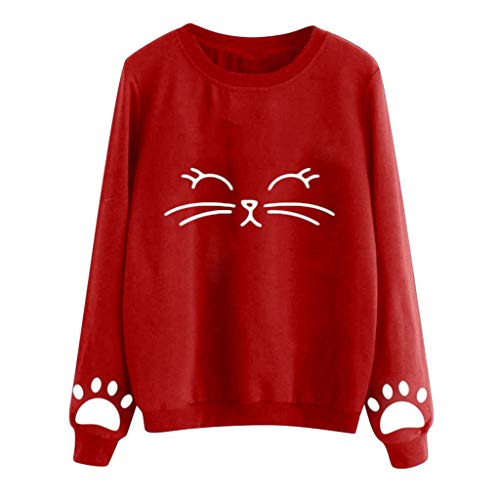 TWGONE Women Autumn And Winter Cat Weater Round Neck Long Sleeve Regular Blouse(XXX-Large,Red-c)