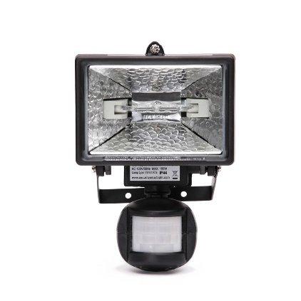 150 W Black Outdoor Motion Sensor Flood Light with Halogen Bulb