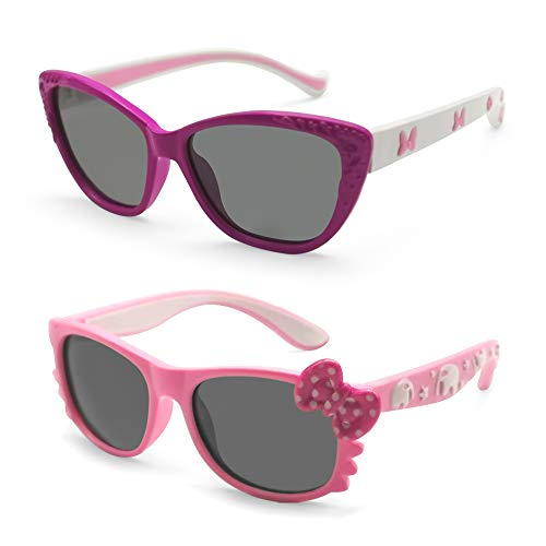 MOTOEYE Kids Cat Eye Sunglasses for Girls Boys Children From 4-12 Years Old,Pack of 2 -