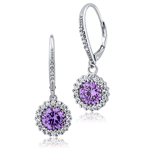 2.50 Ct Stunning Round Lavender Cubic Zirconia CZ Earrings 1 Inch