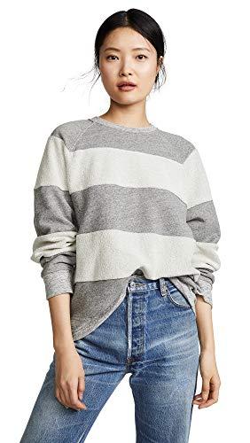 - THE GREAT. Women's The Reverse Stripe Slouch Sweatshirt, Varsity Grey, 1