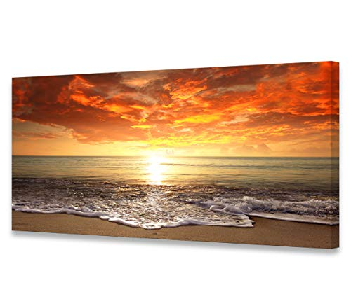 S0162 Canvas Prints Wall Art Sunset Ocean Beach Pictures Photo Paintings for Living Room Bedroom Home Decorations Stretched and Framed Seascape Waves Landscape Giclee Artwork 30x60inch