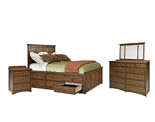 Intercon Oak Park Bedroom Set with Queen Bed, Nightstand, Dresser and Mirror