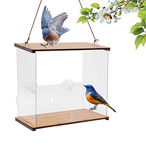 Window Bird Feeder DIY Kits with 4 Seed Zone Birdhouse for Outdoor Bluebird Bamboo Wood Roof, Easy Mount with Strong Screwed Suction Cups Lock Bolt for Suction & Large Outside Hanging Kits