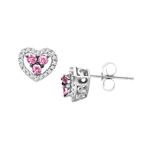 Natural Pink Sapphire and 1/10 ct Diamond Heart Stud Earrings in 14K White Gold (14k Pink Sapphire Stud Earrings)