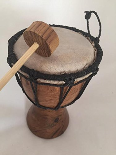 (HAPPYCRAFTS98,Hand Drumming. Hand Carved ,Wood & Leather Drum From Thai ,Drum Collectible Gift)