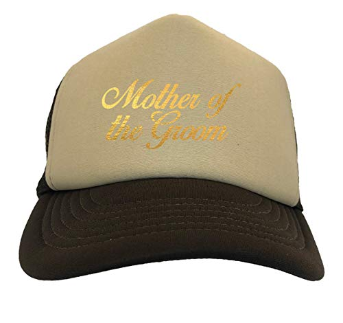 Gold Foil Mother of The Groom - Bridal Two Tone Trucker Hat (Beige/Brown)