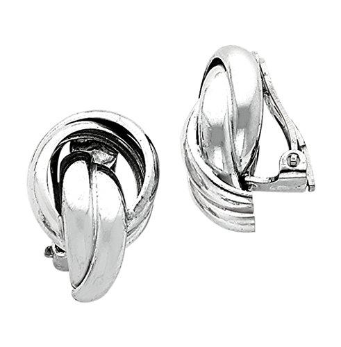 Sterling Silver Knot Design Clip Back Non-Pierced Earrings