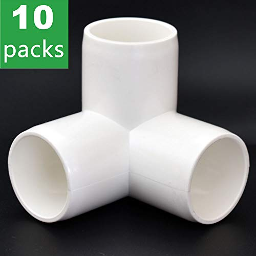 3-Way 1 inch PVC Fitting,Tee Pipe Fittings PVC Connectors - Build Heavy Duty Furniture Grade for 1 inch Size Pipe,White [Pack of 10] ()