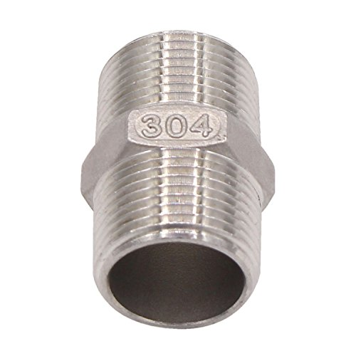 Hex Nipple 3/4 Male NPT - DERNORD Stainless Steel 304 Threaded Pipe Fitting 3/4 for Brew Kit, Home Piping Application, Pack of 1