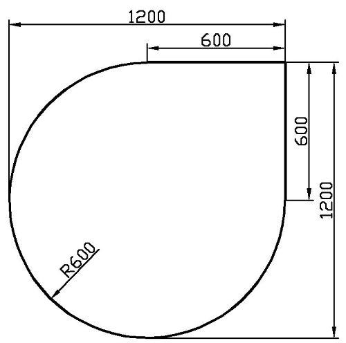 Kaminbodenplatte aus Klarglas - Eck-Variante: Tropfen b 1200 mm x l 1200 mm - kostenlose Lieferung