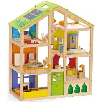 Hape - All Season Doll House - Furnished Playset | Learning Toys