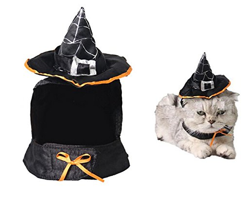 Lanyar Cute Hooded Cloak Witch/Wizard Halloween Costume for Small Dogs & Cat Kitten, Cat Costume ()