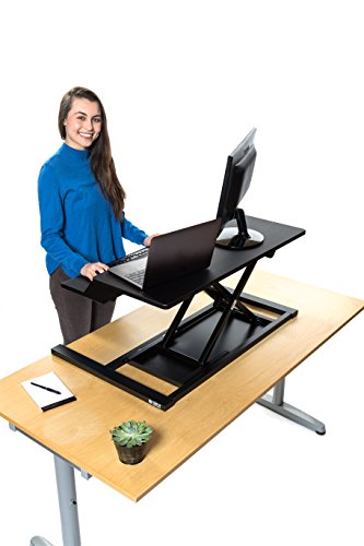 Stand Up Desk Store AirRise Electric Power Pro Two-Tier Standing Desk Converter/Sit Stand Desk - Turn Any Desk Into a Stand Up Desk/Adjustable Desk (Electric Adjustment   36