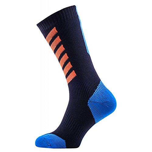 SealSkinz MTB Mid Sock with Hydrostop Black/Blue/Orange, XL - Men's by SEALSKINZ