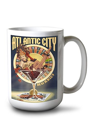 Lantern Press Atlantic City, New Jersey - Pinup Showgirl (15oz White Ceramic Mug) ()