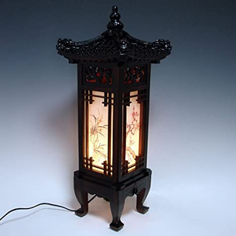 Carved Wood Lamp Handmade Traditional Korean Dragon Roof And Window Design  Art Deco Lantern Brown Asian