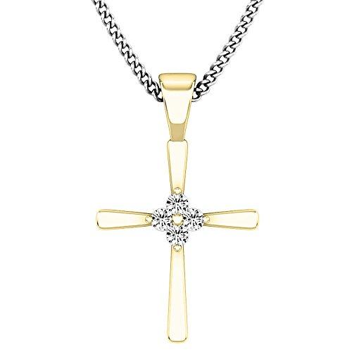 0.05 Carat (ctw) 10K Gold Round White Diamond Ladies Cross Pendant (Chain Not Included)