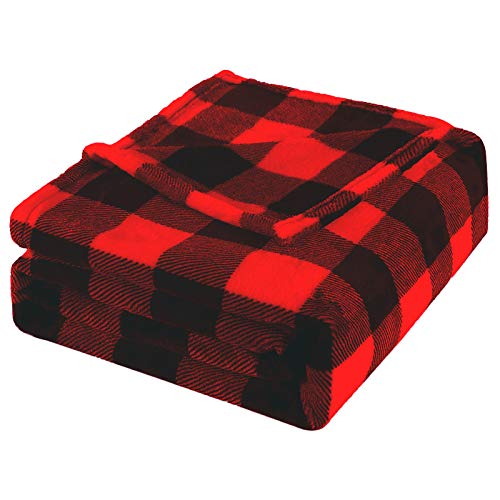 Bobor Buffalo Plaid Throw Blanket for Couch Bed, Flannel Fleece Red Black Checker Plaid Decorative Throw, Fuzzy, Fluffy, Plush, Soft, Cozy, Warm Blankets