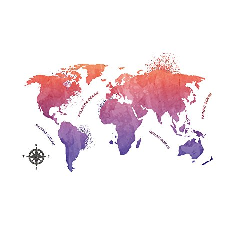 Winhappyhome World Map Colorful Forum Wall Art Sticker for Bedroom Living Room Background Removable Decor - Shops Map Forum