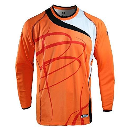 Admiral Sports Plymouth Soccer Goalie/Goalkeeper Crew-Neck Jersey, Padded Elbows, VaporDraw Fabric (Orange/White/Black, Adult 2XL Size)