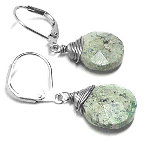 - Light Aqua Jasper Briolette Lever Back Earrings Wire-Wrapped Surgical Steel