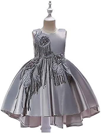 Children's Girls Sequins Fringe dress Sleeveless Lace Tail Princess Party Formal Gown