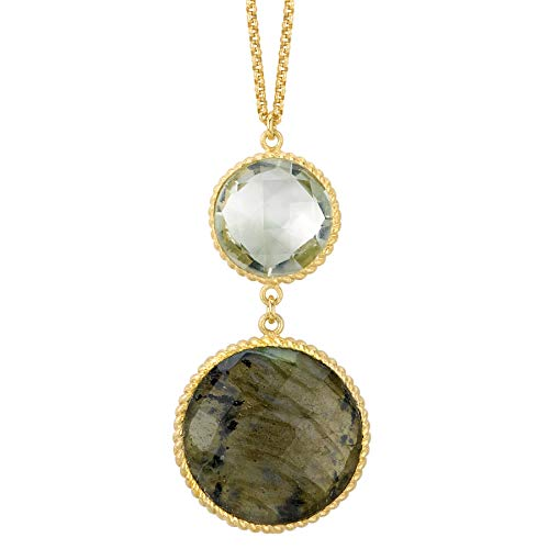 18k Gold over 925 Silver Green Amethyst & Labradorite Pendant Necklace- 16-18 IN ()