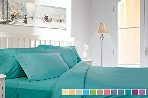 Clara Clark Premier 1800 Collection Deluxe Microfiber 3-Line Bed Sheet Set, Queen, Teal (Teal Bed Set Queen)