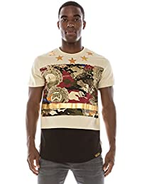 Mens Hipster Hip Hop Shiny PU Leather Patchwork Panel T-Shirt