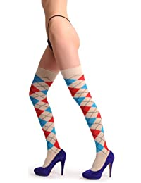 Argyle Beige, Blue & Red - Over The Knee Socks