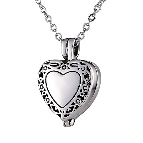 Beydodo Necklace Urn Personalized Necklace for Ashes Stainless Steel Flower Filigree Cremation Pendant Heart
