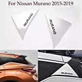 2pcs ABS Chrome Rear Tail Frame Cover Window Triangle Decal Rear Door Side Window Trim Strip Emblems Fits Nissan Murano 2015-2018 2019