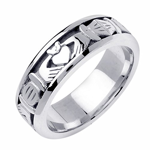 14K White Gold 7mm Celtic Claddagh Wedding Band Promise Ring Comfort Fit