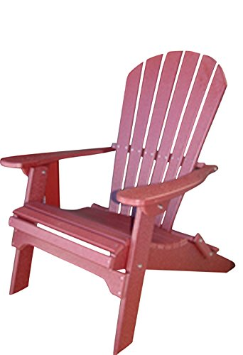 Phat Tommy Recycled Poly Resin Folding Adirondack Chair – Durable and Eco-Friendly Patio Furniture Armchair, Dark Red by Phat Tommy