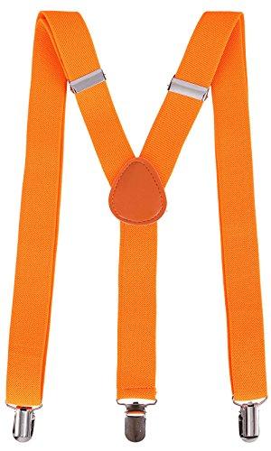 Livingston Halloween Party Accessory Unisex Clip-On Adjustable Elastic Suspenders, Orange